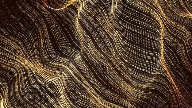Złote cząstki cyfrowe fale przepływu abstrakcyjne tło
