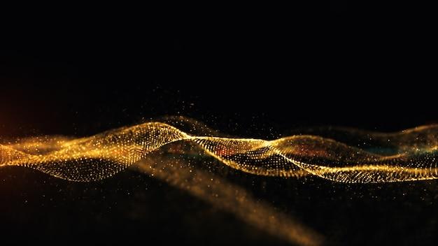 Złote cząstki iskry animacja przepływu fali w tle