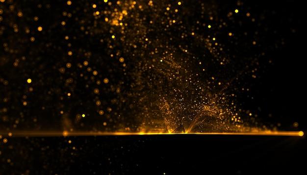 Złote cząstki pyłu w tle wybuchu
