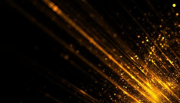 Złote cząstki światła smugi w tle