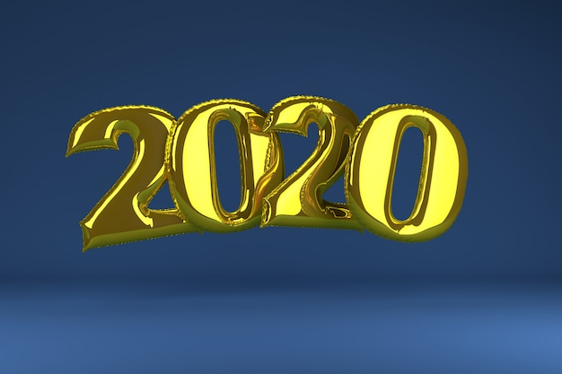 Złote dmuchane postacie 2020 na niebiesko. balony nowy rok. renderowania 3d,.