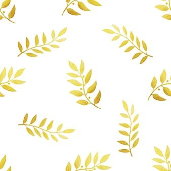 Złote gałązki na białym tle