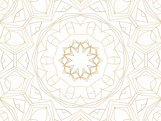 Złote geometryczne streszczenie tło na białym tle. wzór do dekoracji i projektowania, symetryczny wzór w kolorze złotym