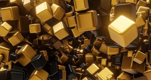 Złote i czarne kształty geometryczne, kostki. do umieszczenia logo i tytułu, wydarzenia, koncertu, prezentacji, witryny. abstrakcyjne tło 4k
