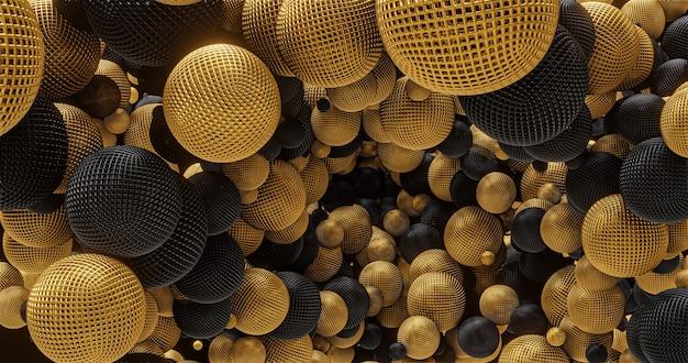 Złote i czarne kształty geometryczne, kule. do umieszczenia logo i tytułu, wydarzenia, koncertu, prezentacji, witryny. abstrakcyjne tło 4k
