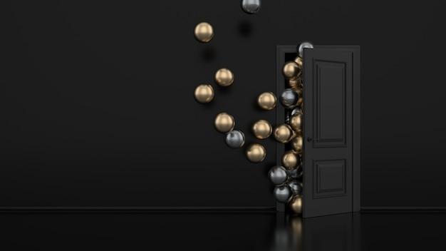 Złote i metalowe balony odlatują przez otwarte drzwi we wnętrzu biura