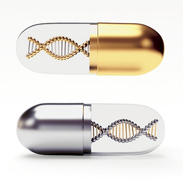 Złote i srebrne kapsułki medyczne ze strukturą cząsteczki dna wewnątrz