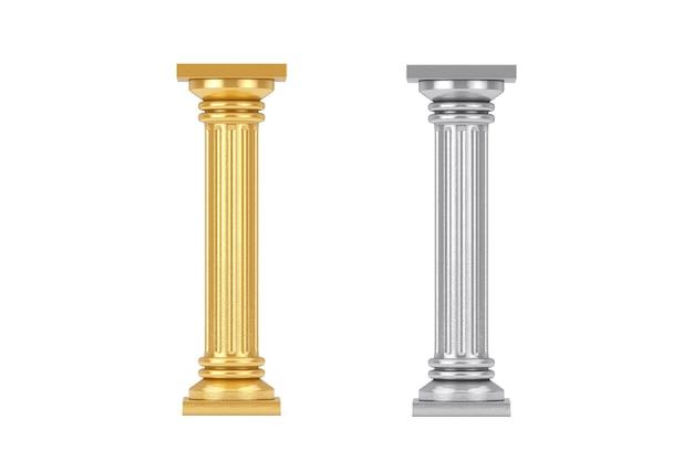 Złote i srebrne klasyczne kolumny greckie cokole na białym tle. renderowanie 3d