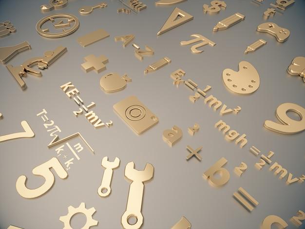 Złote ikony o nauce dzieci na czystej przestrzeni.