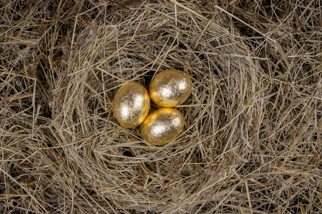 Złote jaja z widokiem z góry gniazdo. koncepcja wielkanocna.