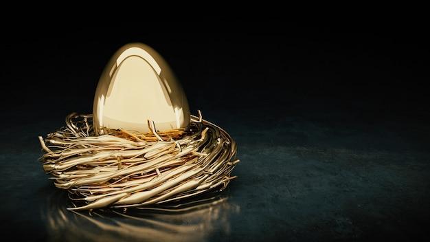 Złote jajka renderowanie 3d