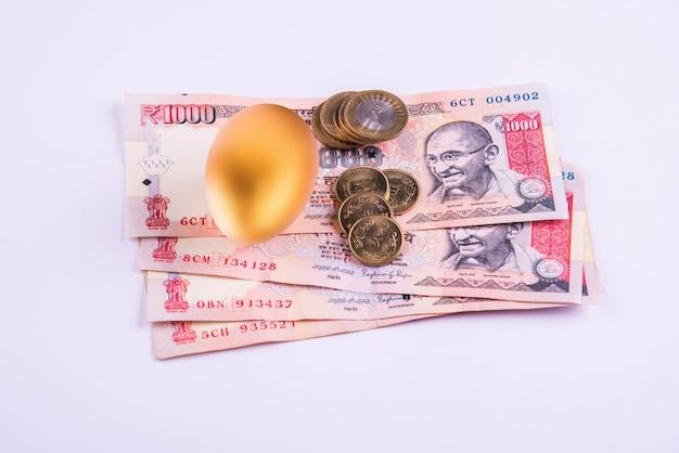 Złote jajko na stosie indyjskich banknotów