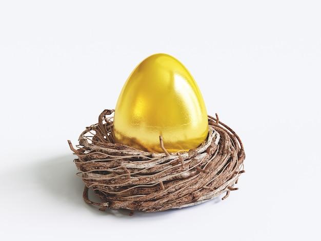 Złote jajko wielkanocne i prezenty, ilustracja renderowania 3d