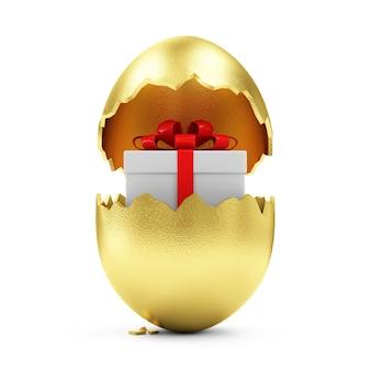 Złote jajko z pudełko wewnątrz na białym tle