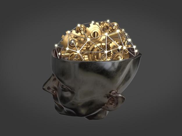 Złote koła zębate i część maszyny w kształcie mózgu na ludzkiej głowie, koncepcja pracy wywiadowczej, streszczenie mózgu. renderowania 3d