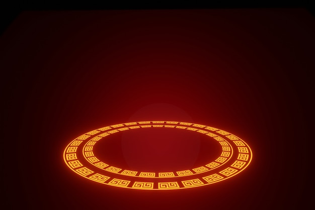 Złote koło świecące neonowe ramki na renderowanie 3d w tle szczęśliwego chińskiego nowego roku