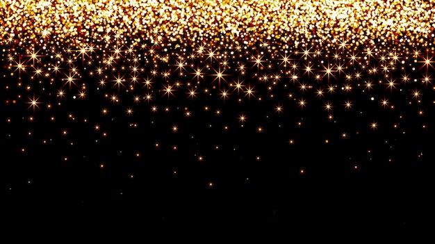 Złote konfetti spadające na czarnym tle
