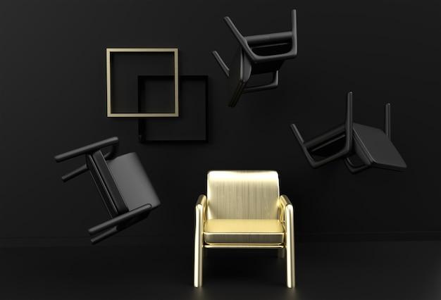Złote krzesło wyróżniające się z tłumu. pomysł na biznes. projekt renderowania 3d.