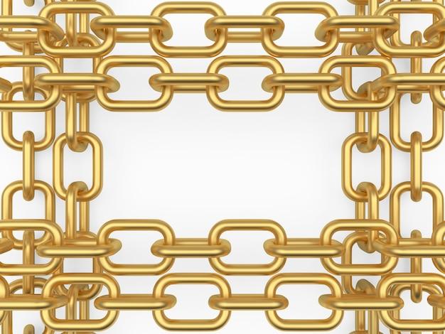 Złote łańcuszki w formie oprawki