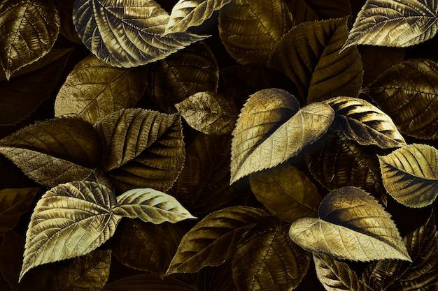 Złote liście roślin teksturowane tło