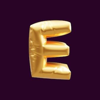 Złote litery e balon ilustracja 3d. 3d ilustracja złotego balonu litery e.