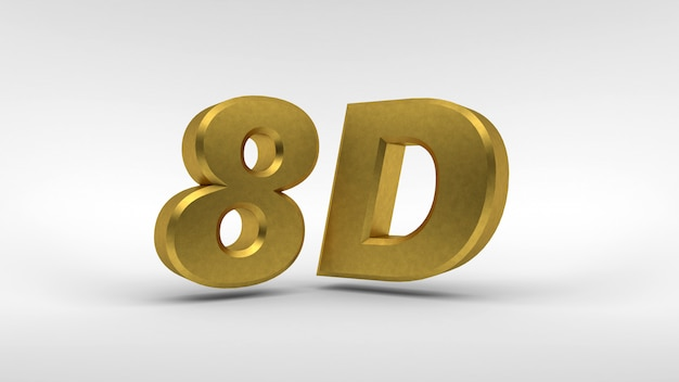 Złote logo 8d na białym tle z efektem odbicia