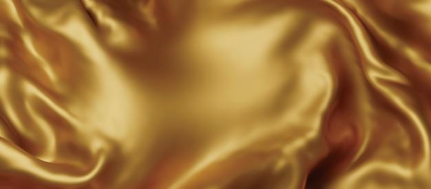 Złote luksusowe tkaniny tło z kopią przestrzeni renderowania 3d