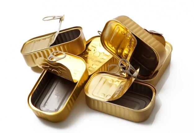 Złote metalowe pudełka na żywność