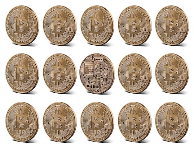 Złote monety bitcoin, kolekcja. koncepcja pieniądza cyfrowego.