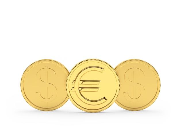 Złote monety dolara i euro