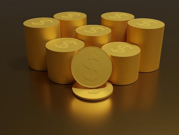 Złote monety gotówką pieniądze w stosach