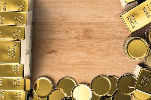 Złote monety i złote sztabki z pustą przestrzenią