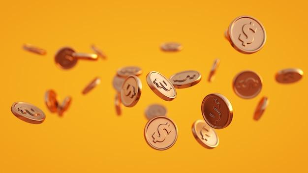 Złote monety na żółtym tle symbolizujące kasyno i zakupy online renderowanie 3d