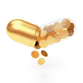 Złote monety wypadające z otwartej przezroczystej kapsuły medycznej