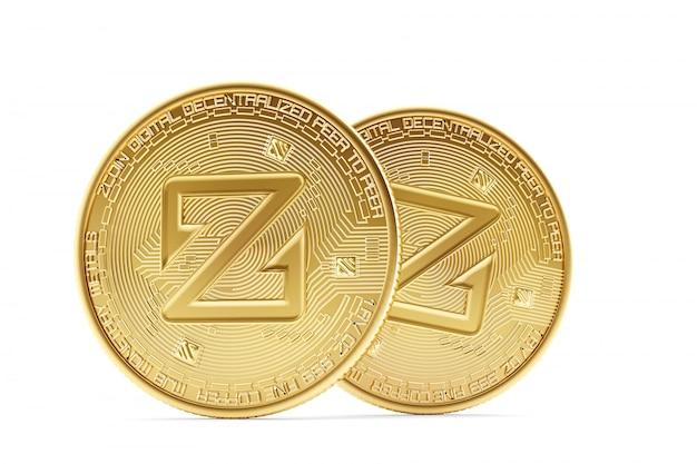 Złote monety zcoin. 3d ilustracji
