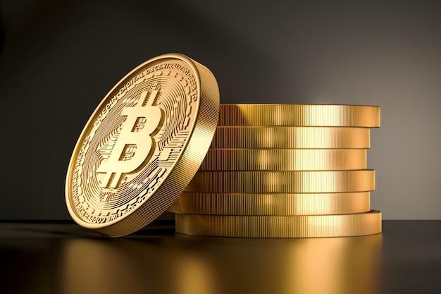 Złote monety ze znakiem bitcoin. renderowanie 3d kryptowaluty.