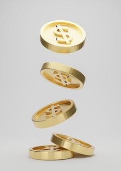 Złote monety ze znakiem dolara spadające lub latające na białym tle. koncepcja poke jackpot lub kasyno. renderowanie 3d.