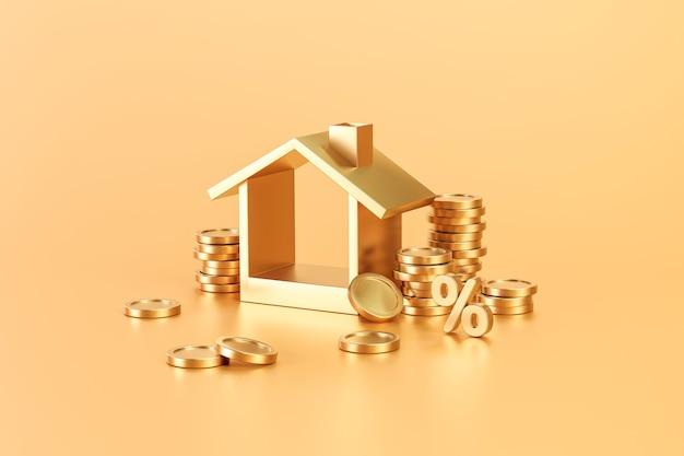 Złote nieruchomości lub inwestycje w nieruchomości domowe na złotym tle z ekonomią finansów mieszkaniowych. renderowanie 3d.