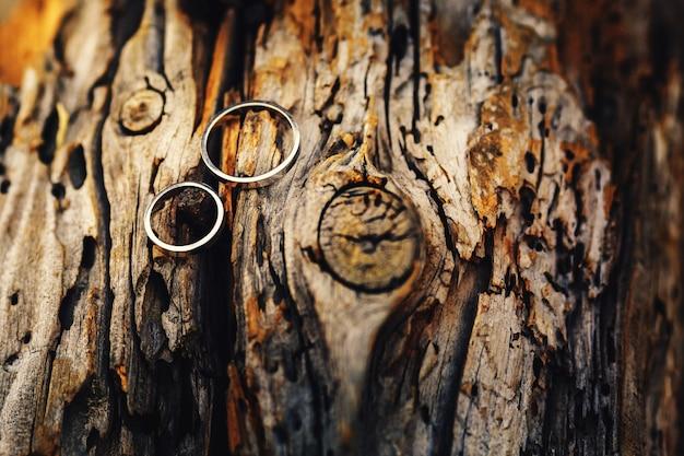 Złote obrączki na starym drewnie w ciepłej kolorystyce