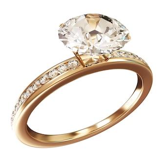 Złote obrączki ślubne z diamentami na białym tle
