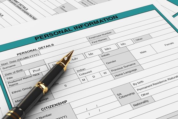Złote pióro wieczne do pisania na dane osobowe formularze ekstremalne zbliżenie. renderowanie 3d
