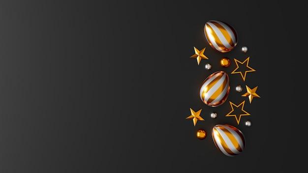 Złote pisanki na ciemnym tle. widok z góry. leżał płasko. ilustracja 3d