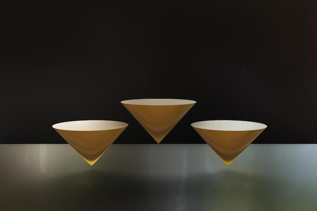 Złote podium geometryczne z czarnym