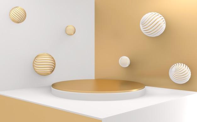 Złote podium minimalne geometryczne streszczenie w stylu bieli i złota