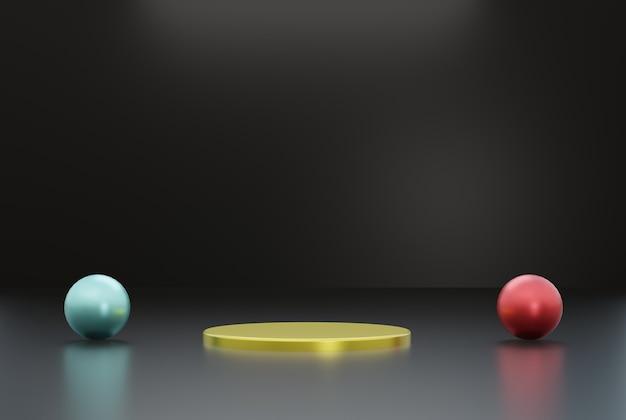 Złote podium z ciemnym tłem dla ulotki plakatowej itp. ilustracja renderowania 3d