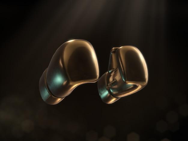 Złote rękawice bokserskie na ciemnym tle