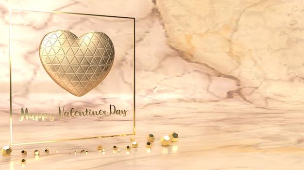 Złote serce i złoto fram renderowania 3d dla treści walentynki.