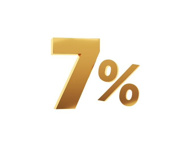 Złote siedem procent na białym tle. renderowania 3d.