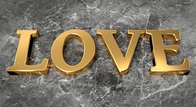 Złote słowo miłość na tle marmuru