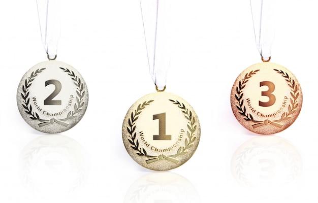 Złote, srebrne i brązowe medale na białym tle